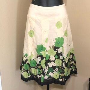 Nine West Cream Aline Floral Cotton Pleated Skirt